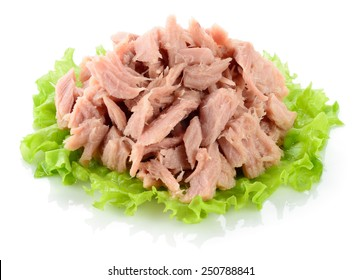 Tuna. Canned fish on green lettuce leaf