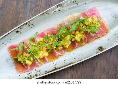 Tuna Carpaccio with mango & avocado