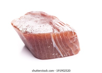 A tuna fillet isolated on white background
