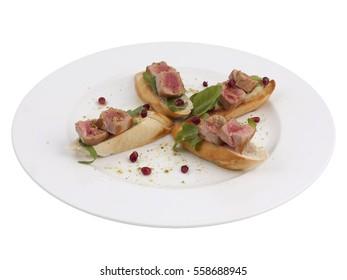 Tuna Fish Bruschetta Italian Antipasto Topped Appetizer Snack Dish Set