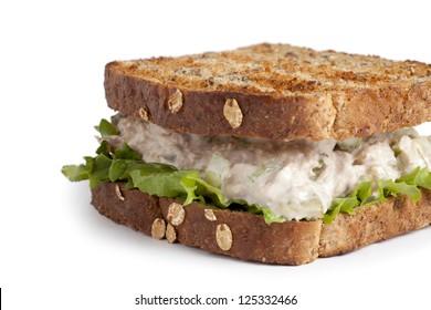 Tuna fish salad sandwich on whole grain bread