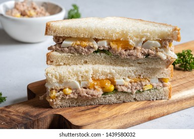 Tuna fish sandwich with egg and corn