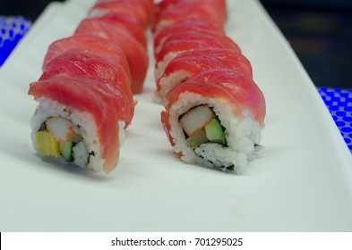 Tuna fish sushi rice wrapped d. japan food.