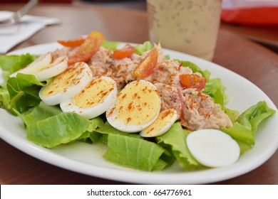 tuna salad with boiled eggs.