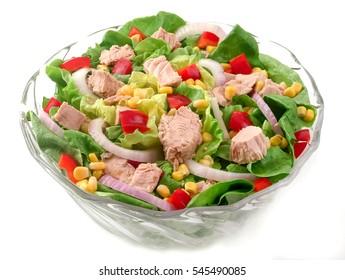 Tuna salad in glass bowl.