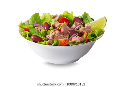 Tuna salad with lettuce, tomatoes and olives isolated on white background