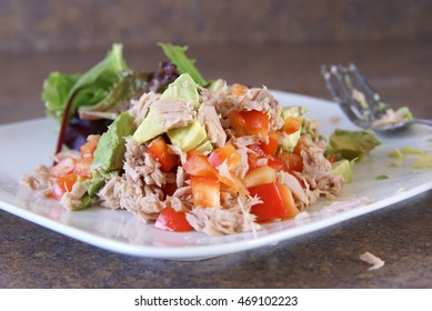 Tuna salad lunch on a plate. Healthy eating, nutritious food, active lifestyle, home cooking, real food, clean eating.