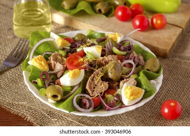 Tuna salad with vegetables and ingredients