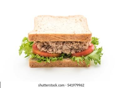 tuna sandwich on white background