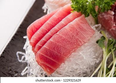 Tuna sashimi on plate