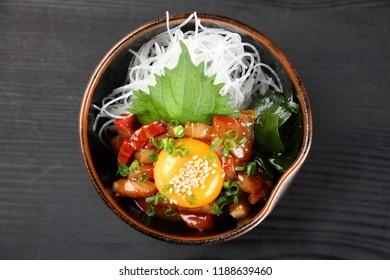 tuna sashimi tartare with raw egg