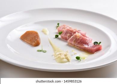 Tuna sashimi, tuna tartare with sauce