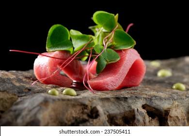 Tuna sashimi and Wasabi sauce. Haute cuisine