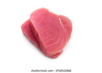 Tuna steak isolated on white background