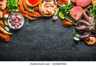 Tuna steak with a variety of fresh seafood and herbs. On black rustic background