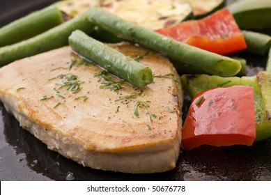 Tuna Steak with Vegetable in Pan
