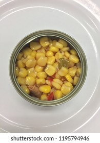 tuna with sweetcorn, red capsicum and green capsicum in can