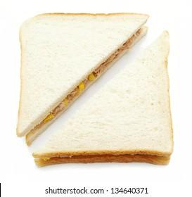 tuna and sweetcorn sandwich on white