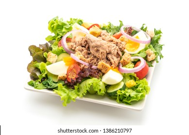 Tuna with vegetable salad and eggs - healthy food style isolated on white background
