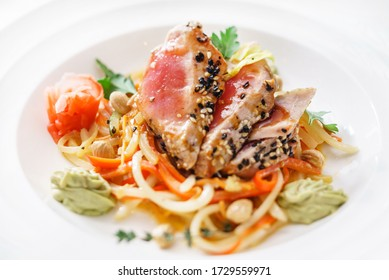 tuna with vegetables in restaurant