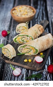 Tuna wraps with tortilla and corn