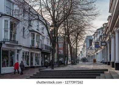 TUNBRIDGE WELLS, KENT/UK - JANUARY 4 : View of buildings in the Pantiles in Royal Tunbridge Wells Kent on January 4, 2019. Unidentified people