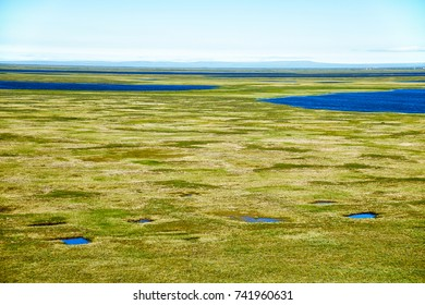 Tundra landscape in the north of Yakutia in vicinity of Chokurdakh settlement