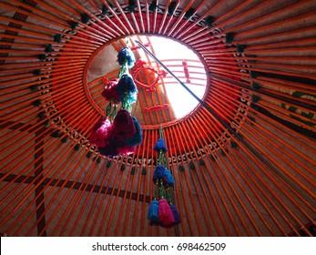 Tunduk (Shanyrak) yurts of nomadic peoples (Kyrghyz, Kazakhs, Buryats, Mongols and others)