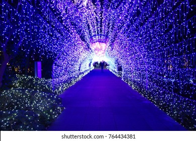 Tunel of Winter Illuminations light festival in Kamakura, Enoshima island, which is held as a memorial to the victims of the earthquake in 1995 in cities across Japan