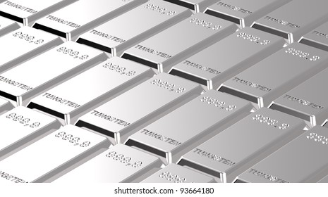 Tungsten ingots background. Computer generated 3D photo rendering.