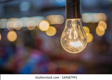 Tungsten lamp with a bokeh background design