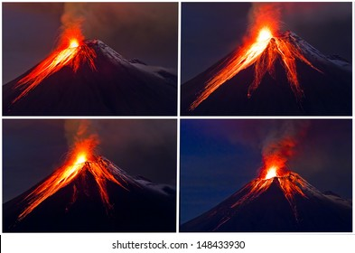 Tungurahua Volcano eruption collage