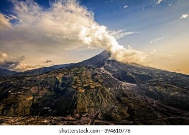 Tungurahua Volcano, Intense Strombolian Activity At Sunset, Aerial View, February 2016, Ecuador, South America