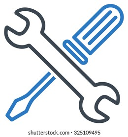 Tuning Tools illustration icon. Style is bicolor flat symbol, smooth blue colors, rounded angles, white background.