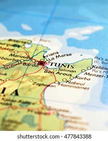 Tunis City Tunisia, on atlas world map