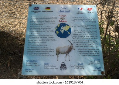 TUNIS, HAMMAMET-APRIL 30, 2019: a shield with information about the saber-legged antelope (lat. Oryx dammah) in Friguia Park