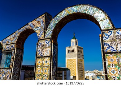 Tunis. Tunisia. 08/15/2017. The minaret of the great mosque Zaytuna view from the terraces