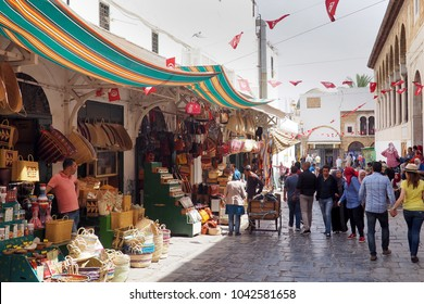 Tunis, Tunisia - 10 March 2017 : The streets of Tunis, capital of Tunisia, are a cosmopolitan mix of european architecture and Muslim influence.
