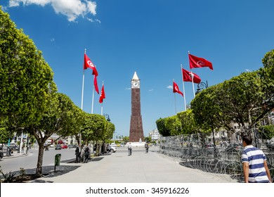 Tunis, Tunisia - 24 May 2015.The clock tower in the capital city