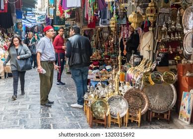 TUNIS, TUNISIA - APRIL 3: Activity in a market in the historic medina in Tunis, Tunisia on April 3, 2018