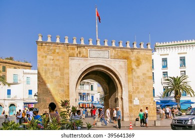 TUNIS, TUNISIA - August 29, 2007. Gates of Medina, old center of Tunis, capital city of Tunisia. Main entrance in historical part of town.