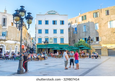TUNIS, TUNISIA - AUGUST 30, 2015: Place Beb Bhar is the main square, that separates Medina from european city, on August 30 in Tunis.