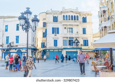 TUNIS, TUNISIA - AUGUST 30, 2015: Place Beb Bhar is the square that surrounds the ruins of the old gates, on August 30 in Tunis.