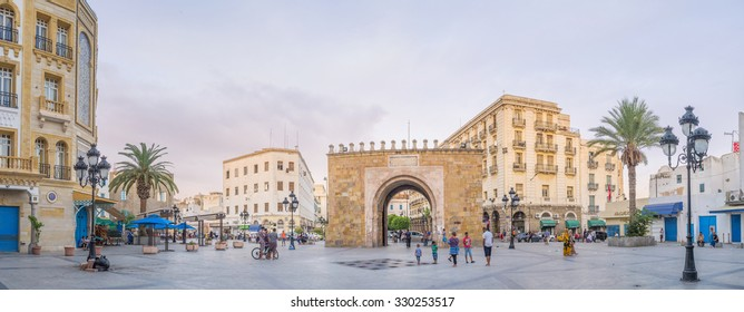 TUNIS, TUNISIA - AUGUST 30, 2015: Panorama of the Bab el Bhar square with the sea gate in the middle, on August 30 in Tunis.