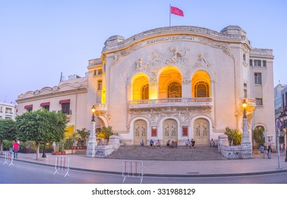 TUNIS, TUNISIA - AUGUST 30, 2015: The Municipal Theater in bright evening illumination looks great, on August 30 in Tunis.