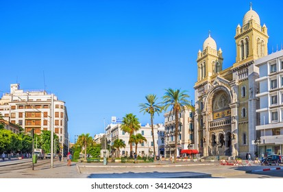 TUNIS, TUNISIA - AUGUST 30, 2015: The catholic Cathedral of St Vincent de Paul is the famous tourist landmark, located at the Place de l'Independence in the Ville Nouvelle, on August 30 in Tunis.