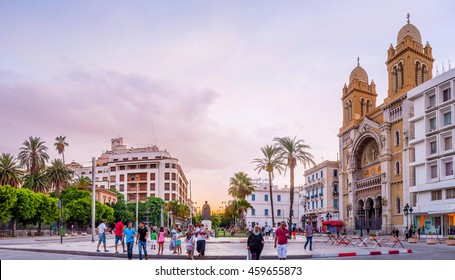 TUNIS, TUNISIA - AUGUST 30, 2015: The Independence Square with its european architecture is one of the important centers of the city life, on August 30 in Tunis.