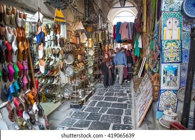 TUNIS, TUNISIA - CIRCA MAY 2016: old market in Medina de Tunis