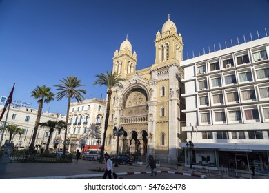 Tunis, Tunisia - December 27, 2016: The city center of Tunis, Tunisian capital. Buildings and monuments around Habib Bourguiba Avenue.