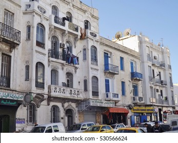 Tunis, Tunisia - January 11, 2015: Street scene in Tunis, next to the Medina. A residential building in art deco style.